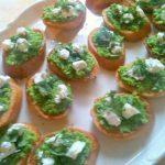 Summer Pea & Goats Cheese Crostini