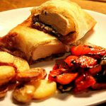 Chicken with creamy onions, mushrooms & goats cheese wrapped in Brick Pastry