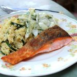 Salmon with Garlick Courgette Couscous & Cucumber, Fennel & Dill Salad