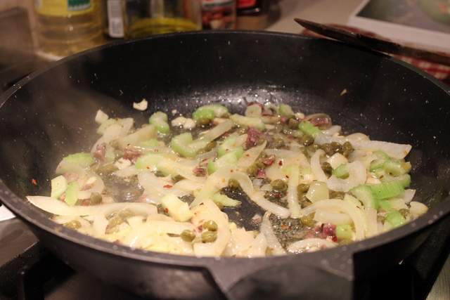 Onions, anchovies, celery capers