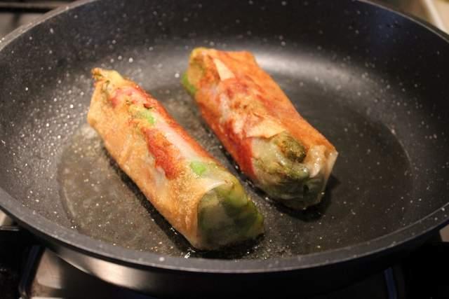 Crispy Asparagus & Camembert Parcels frying