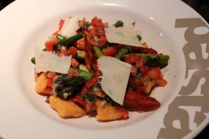 Sweet Potato Gnocchi with Chorizo, Asparagus & Sauce Vierge