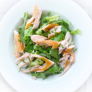 Garden Salad with Smoked Salmon & Potatoes by Lancashire Food
