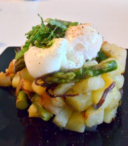 Asparagus Potato Hash with Poached Egg by Franglais Kitchen