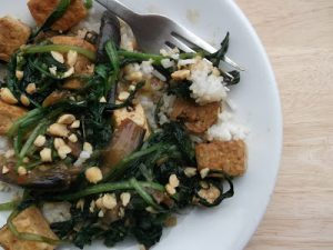 Wild Garlic with Tofu, Aubergine & Oyster Sauce by Chipbutties and Noodle Soup