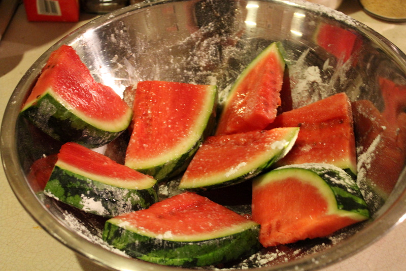 Watermelon dusted in icing sugar