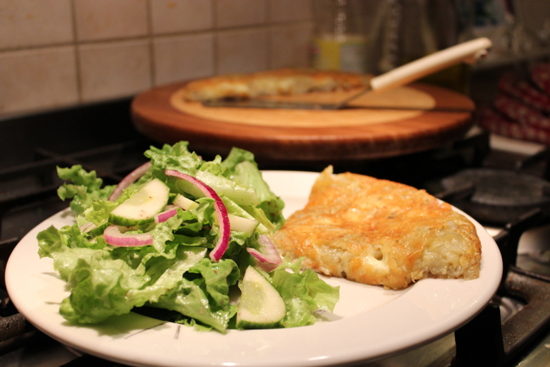 Cheese Stuffed Potato Rosti served with salad