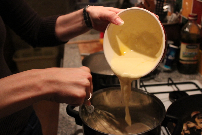 Adding egg yolks & cream to roux