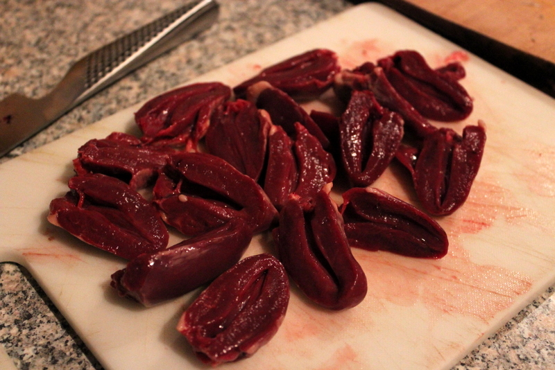 sliced duck hearts