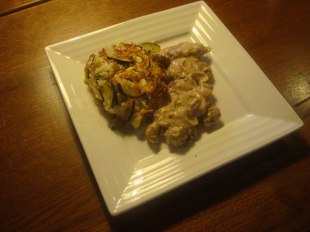Courgette Gratin & Marsala Pork