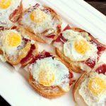 Iberico Ham with Fried Quails Egg & Parmesan Pintxos