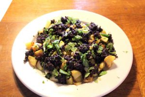 Warm Potato & Apple Salad with Black Pudding Crumbs