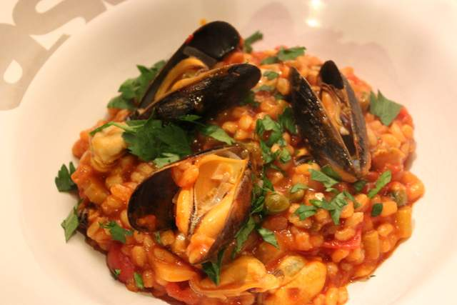 Barley Puttanesca Mussel Risotto