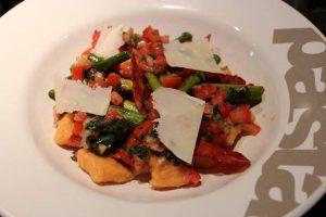 Sweet Potato Gnocchi with Chorizo, Asparagus & Sauce Vierge
