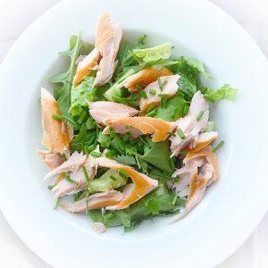 Garden Salad with Smoked Salmon & Potatoes by Lancashire Food