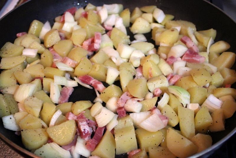 potatoes, onion & bacon frying