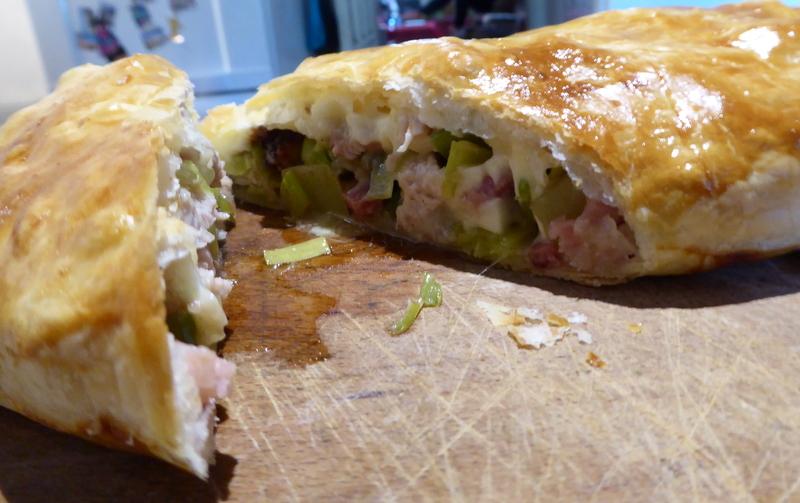 Turkey, Cranberry & Brie Pie cut
